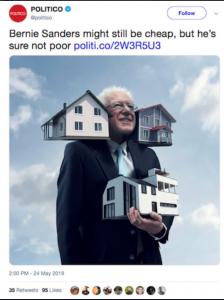 Politico Bernie is rich and cheap